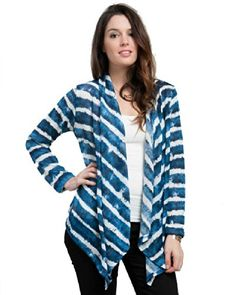 Plus Size Ombre Blue Cardigan --Size: 2x Color: Blue at Amazon Women's Clothing store: Outerwear