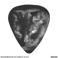 Staring Black Cat two sided Pick.  A different picture of my kitty, Chocolate, on each side. Don't let that icy stare fool you. She is sweet as her name. Put a little goth superstition in your music. this could be your good luck, lucky guitar pick!  Get one for a collection or but several and get a volume discount.  I promise that she is not bad luck.
