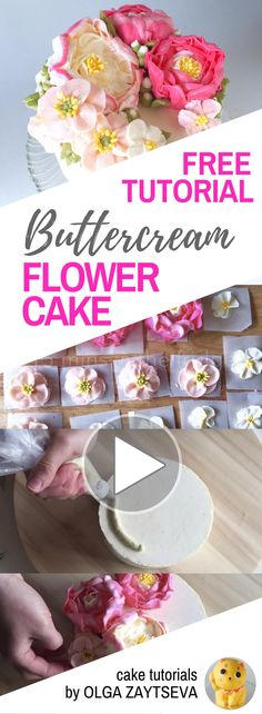 New cake decorating buttercream flowers sweets Ideas Buttercream Flowers Tutorial, Buttercream Flower Cake, Cake Icing, Buttercream Frosting, Cupcake Cakes, Cake Decorating Techniques, Cake Decorating Tutorials, Cookie Decorating, Bolo Floral