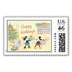 Mickey and Minnie Happy Holidays Postage Stamp