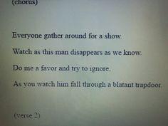 from their website in 2012. http://web.archive.org/web/20120422175643/http://www.twentyonepilots.com/lyrics-twenty-one-pilots.html# trapdoor