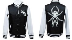 A My Chemical Romance fanbase: STORE: School Sucks, Start a Band. Hooded Varsity Jacket Avail Now!>>> holy crap I want this so badly! Band Outfits, Emo Outfits, Batman Outfits, Rock Outfits, Band Merch, Band Shirts, My Chemical Romance Hoodie, Black Parade, Emo Fashion