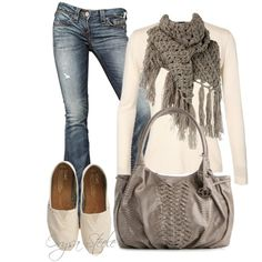 """Cream and Cashmere"" by orysa on Polyvore - swap out shoes for boots"