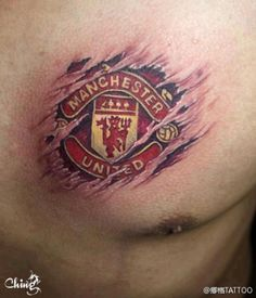 Amazing Tattoo  Manchester United I would obviously never get it but its awesome http://www.sportyghost.com/top-10-highest-selling-club-soccer-jerseys/
