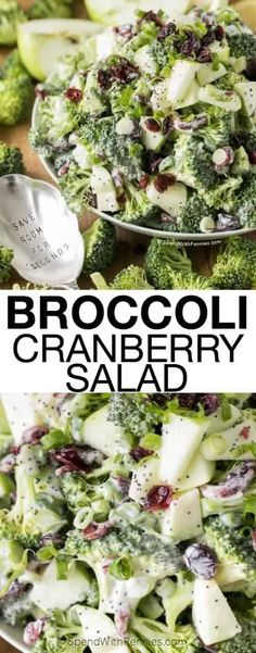 Broccoli Cranberry Salad is the perfect side for a weeknight dinner or picnic dish. Loaded with broccoli apples cranberries and nuts this salad is crisp colorful and nothing short of delicious! Potluck Dishes, Food Dishes, Picnic Side Dishes, Vegetarian Recipes, Cooking Recipes, Healthy Recipes, Sausage Recipes, Brocolli Salad, Broccoli Salad With Cranberries