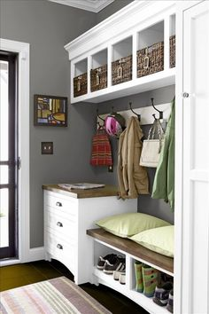 Mudroom I like the drawers near the door, hooks, cubbies above, bench and storage under CDK #closetorganizer #mudroombench #mudroom