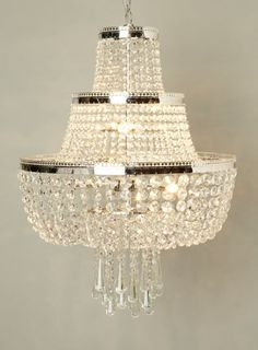 BHS // Veronica Chandelier // 3-tier crystal art deco hotel-style