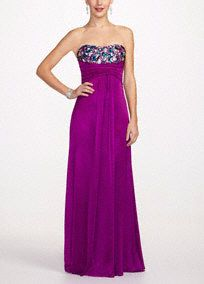 Make a bold statement with this vibrantly colored dress! The simple silhouette is anything but boring in this gorgeous aubergine color, and the beaded bodice will have you sparkling all night. #prom2013 #promdresses #davidsbridal #davidsbridalprom