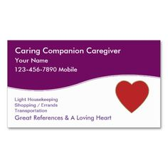 Caregiver Business Cards. Make your own business card with this great design. All you need is to add your info to this template. Click the image to try it out!