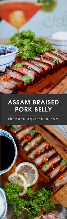 Assam Braised Pork Belly (Tamarind Pork Belly): A tender melt-in-your mouth braised pork belly in a tart and slightly sweet assam (tamarind) sauce. Only 15 minutes active time and 3 key ingredients (plus common Chinese condiments). An unfussy and simple h Kitchen Recipes, Cooking Recipes, Nyonya Food, Easy Asian Recipes, Chinese Recipes, Chinese Food, Braised Pork Belly, Pork Belly Recipes, Asian Pork