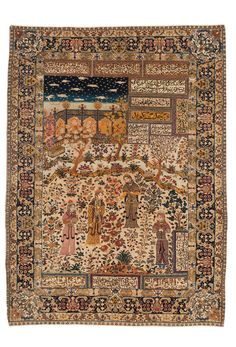 Persian Tabriz rug, polychrome scene with a princess and her entourage in a nightly palace garden as well as inscriptions within fields. A dark blue main border with a large vine of animals and palmettes. The inner secondary border with mythological animals in octagons. The outer secondary border has an arabesque vine. The corners ornaments are decorated with mythological animals.