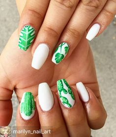 Cactus nails. Tropical nails