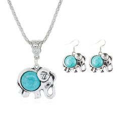 Fashion Jewelry Sets Tibetan Turquoise Chain Necklace & Pendants Silver Plated Water Drop Shaped Stud Earrings Women Collar 2