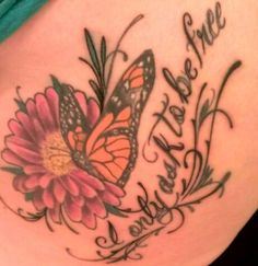 Start of back tattoo. My monarch butterfly and daisy with dickens quote