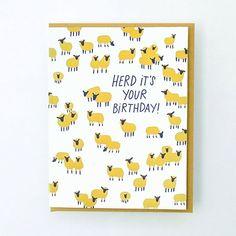 herd it's your birthday Birthday Pun Greeting Card – Hello!