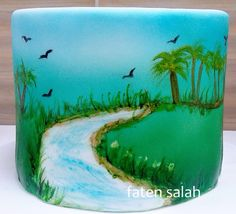 airbrush + free_hand painting valley scene - Cake by oursweethomecakes
