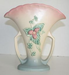 Vintage Hull Pottery Wildflower Pink & Blue Large Fan Vase