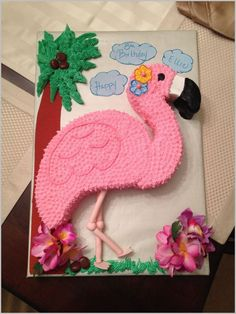 birthday cake decorating ideas for adults - happy birthday cake Flamingo Cupcakes, Pink Flamingo Party, Flamingo Birthday, Luau Birthday, Birthday Cakes, Pink Flamingos, Pull Apart Cake, Pull Apart Cupcakes, Fete Marie