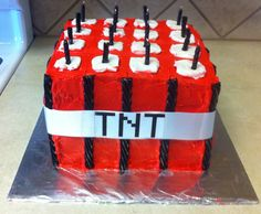 TNT Block Minecraft Cake  This is Sy's FAVORITE out of all the pins. What do you think?