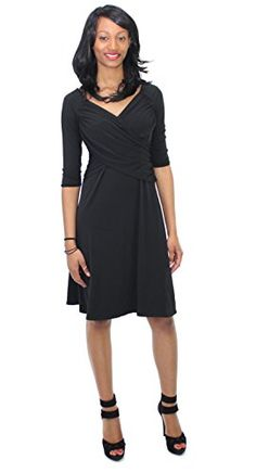 NY Collection Womens BSlim 34 Sleeve Cross Front Dress Black Medium ** You can get additional details at the image link.(This is an Amazon affiliate link and I receive a commission for the sales)