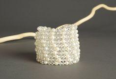 White Multi Strand Beaded Bracelet  8 Strand by AmphaiJewelry