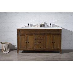 "Stufurhome 59"" Hamilton Double Sink Bathroom Vanity Set - TY-7615-59-QZ"