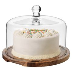 Let there becake! And a dome to keep dryness at bay. I love this tall handsome acacia wood 2-piece cake server set from Libbey. $34.99