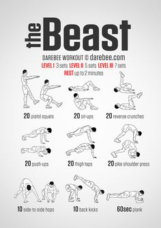 The Beast Workout - You know the times when you need to contemplate life and need to get in touch with your spirit guide and discover your totem animal? This is just one of them. You get ready for action, look deep inside yourself and unleash your inner beast to help you get through the workout. In the process you discover a new you. Fresh capabilities are unlocked and muscles you probably haven't used before in quite the same way come into play and ... you transform.