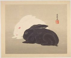 """Two Rabbits"" - Yoshijiro (Mokuchu) Urushibara and Wash Painting Art Art Japanese Art Styles, Japanese Artists, Japanese Bird, Rabbit Colors, Chinese Art, Chinese Brush, Japanese Graphic Design, Woodblock Print, Graphic Design Illustration"