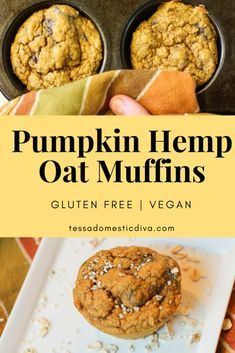 Pumpkin Oat Hemp Muffins - Gluten Free - Vegan (be sure to use certified gluten-free purity protocol oats--GF Harvest are my favorite) Dairy Free Eggs, Gluten Free Grains, Gluten Free Pumpkin, Vegan Pumpkin, Healthy Pumpkin, Pumpkin Recipes, Vegan Gluten Free, Egg Free, Gluten Free Recipes For Breakfast