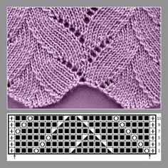Palm stitch with chart Palm stitch with chart, … - Knitting Charts Lace Knitting Stitches, Cable Knitting Patterns, Knitting Charts, Lace Patterns, Crochet Patterns, Baby Knitting Free, Poncho Crochet, Diy Crafts Knitting, Vogue Knitting