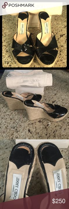 Jimmy Chio Phyllis patent leather wedges Absolutely gorgeous Jimmy Choo black patent leather wedges with braided detail. Size 40. These were only worn a few times because they are a little snug in me. I needed a 41. The soles and leather are in excellent condition. The inner sole slid down about a 1/2 inch and wrinkled a bit. See photos for details. These will make a shoe lover very happy! Original box and dust bag included. Jimmy Choo Shoes Sandals