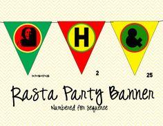 Rasta Bob Marley Party Banner by ChevronDreams on Etsy, $12.00