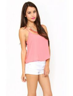 Woven Willow Crop Top - SML - Coral