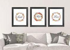 Faith Hope Love, Instant Download, printable art, digital download, typography print, floral wreath, scripture art, bible verse art