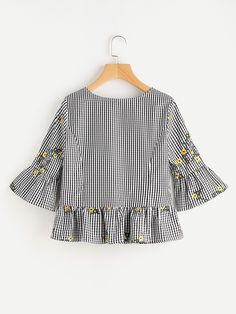 Blossom Embroidered Fluted Sleeve Checkered Top -SheIn(Sheinside)