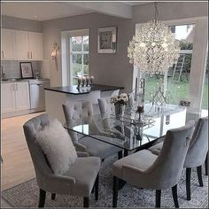 chairs - 124 outstanding dining room table decor ideas page 8 Dining Room Table Decor, Elegant Dining Room, Luxury Dining Room, Dining Room Design, Living Room Decor, Grey Dinning Room, Dinning Room Ideas, Oval Glass Dining Table, Small Dining
