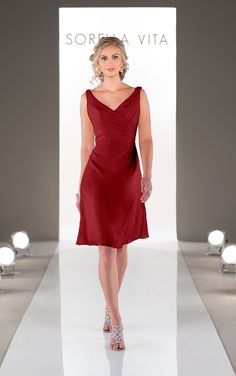 Look through stunning cocktail length cranberry bridesmaid dresses in Chiffon featuring asummetrical ruching and a v-neckline from Sorella Vita.