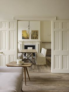 Trim and walls the same color. Beautiful for a room with heavy architectural details.