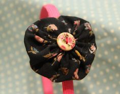Girls Headband with yoyos, bows and flowers in all different colours and patterns