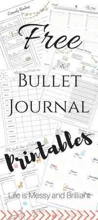 FREE Bullet Journal Printables   Life is Messy and Brilliant