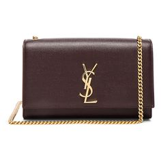 Saint Laurent Medium Monogramme Kate Chain Bag ($1,995) ❤ liked on Polyvore featuring bags, handbags, chain shoulder bag, chain purse, pebbled-leather handbags, hand bags and yves saint laurent purse