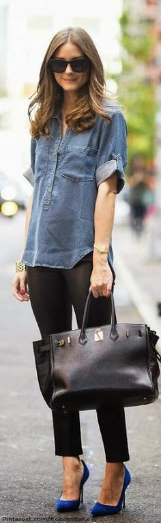Olivia Palermo: The Queen of Statement Accessories denim and black