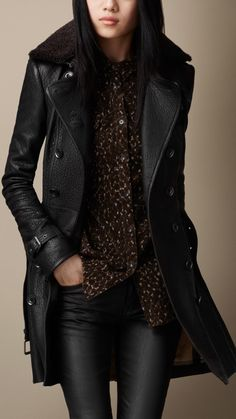 Black Midlength Shearling Collar Leather Trench Coat - by Burberry