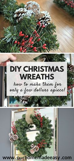 Make this super easy and budget friendly Christmas Wreath! It's only a few dollars. Click to see the steps.