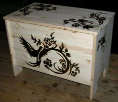 wood chest - pyrography