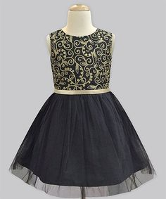 Another great find on #zulily! Noir Desert Flora Black Tulle Dress - Infant, Toddler & Girls #zulilyfinds