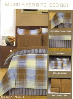 """BED IN A BAG LUXURY 8 PCS MICROFIBER COMFORTER SET AVAILABLE IN TWIN, QUEEN, KING--ESSEX PLAID-BROWN-BLUE by Royal Luxury Manufacturing. $39.99. KING SIZE: 86"""" X 102"""" COMFORTER, AND 20"""" X 36"""" + 2 PILLOWS. 1 BED SKIRT. QUEEN SIZE: 86"""" X 86"""" COMFORTER, AND 20"""" X 26"""" + 2 PILLOWS. 8 PCS MICROFIBER COMFORTER SET INCLUDES: 1 REVERSIBLE COMFORTER SET. 2 PILLOW SHAMS AND 4 PIECE SHEET SET. 100% MICROFIBER REVERSIBLE COMFORTER SET, GREATER THAN 300 THREAD COUNT, SUPER SOF..."""