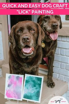 """Did you know that you can paint with your dog? It's easier than it sounds with this lick painting tutorial! Follow my instructions in this post and you'll have a beautiful original artwork to hang in your home. A lick painting is a DIY dog art project where a canvas covered with drips of paint is placed into a peanut butter-covered Ziploc bag. As your dog licks off the peanut butter, they """"paint"""" the canvas! Chocolate Labradors, Chocolate Labs, Dog Washing Station, Durable Dog Toys, Dog Artwork, Diy Dog Treats, Labrador Retrievers, Dog Crafts, Dog Blanket"""