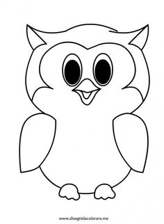 Simple Owl Coloring Pages - Bing images Geometric Coloring Pages, Coloring Pages To Print, Adult Coloring Pages, Coloring Books, Owl Patterns, Applique Patterns, Owl Outline, Owl Templates, Rock Crafts